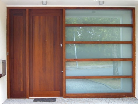 Sheeted front door and side screens