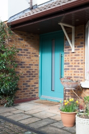 Mint turquoise front entrance door