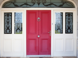 Four panel imitation double door with double side screen and arched fanlight