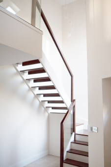 Walnut and cream modern style staircase