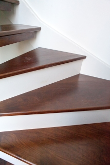 Walnut winder treads and cream risers
