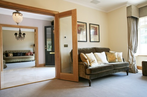 Glass internal double doors and frame