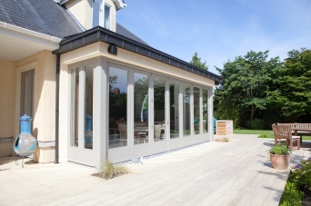 Bi-fold doors with side screen and side french doors