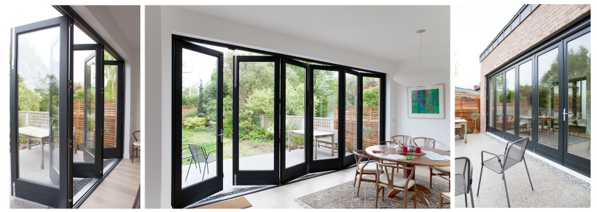 Six leaf bi-fold door - black/grey