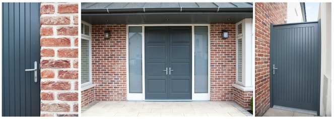 Compilation of front double doors & screen and sheeted side gates