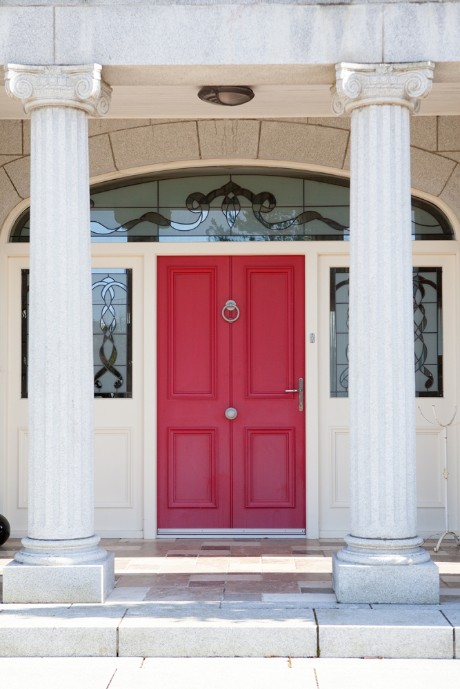 Ruby red front door and screen