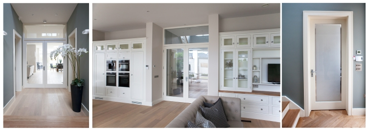 French doors with fanlight and internal door with frame, liners and architrave