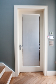 Internal door and frame with sandblasted glass