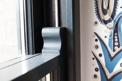 Close up of sliding sash horn detail and cords