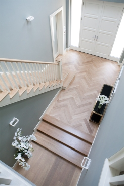 White oak and poplar staircase