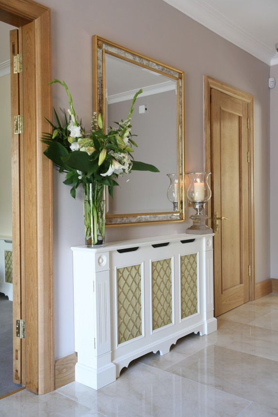 Bespoke radiator cover with decorative gold mesh
