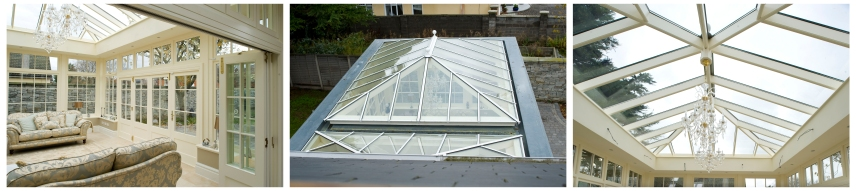 Conservatory roof light from various angles
